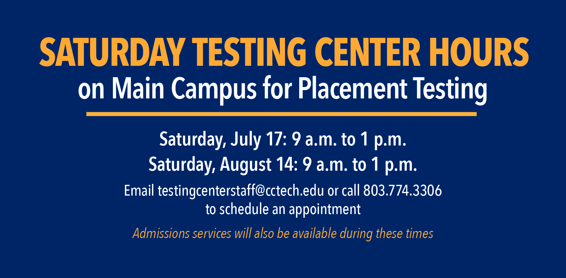 Saturday testing center hours